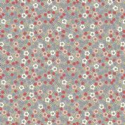 Lewis & Irene Flo's Little Flowers - 5006 - Ditsy Floral, Peach, Red, Yellow on Grey - FLO5-1 - Cotton Fabric
